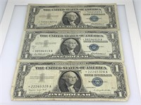 QTY 3 PC SILVER CERT STAR NOTES