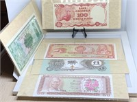 QTY 5 WORLD CURRENCY NOTES / CRISP