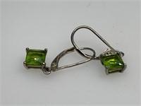 STERLING SILVER GREEN STONE EARRINGS