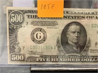 1934-A $500 CURRENCY NOTE BETTER CONDITION