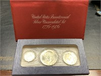 1976 RED ENVELOPE SILVER 3 COIN UNC SET