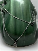 STERLING SILVER LG STONE NECKLACE
