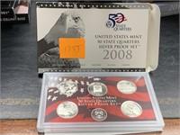 2008 SILVER QUARTERS US MINT PROOF COIN SET