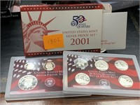 2001 SILVER US MINT PROOF COIN SET