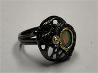 STERLING SILVER RING W OPAL AND CZ
