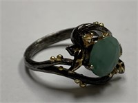 STERLING SILVER EMERALD RING