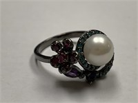 STERLING SILVER PEARL / RUBY RING