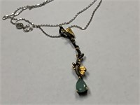 STERLING SILVER DROP EMERALD NECKLACE