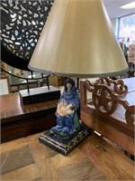 ANTIQUE MADONNA & CHILD FIGURINE TURNED LAMP