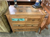 VTG WOOD DRESSER W IRON HARDWARE