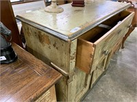 RUSTIC / SHABBY ANTIQUE CABINET W DRAWERS