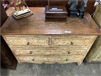 GORGEOUS WOOD TOP VTG DRESSER / UNIQUE FRONT