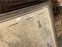 LARGE FRAMED MAP OF TEXAS