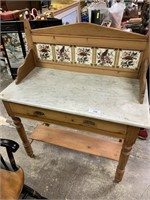 PRETTY MARBLE TOP WASH STAND W TILE BACK