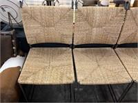 HIGH QUALITY IRON BARSTOOLS W RUSH SEATS
