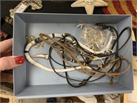 LITTLE TRAY OF JEWELRY SOME STERLING SILVER