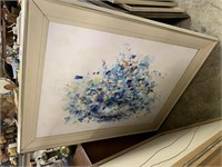 LARGE FRAMED ABSTRACT ORIGINNAL FLORAL PAINTING