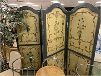 LARGE ITALIAN STYLE PAINTED CANVAS ROOM DIVIDER