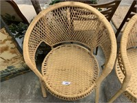 2PC WICKER BENT BACK ARM CHAIRS