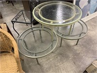 3PC GLASS PATIO ACCENT TABLES