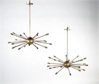 Pair of Brass Litecraft Sputnik Chandeliers