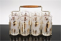 Set of 8 Clear and Gold Glasses with Carrier