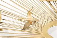 Metal Sunburst Sculpture with Birds