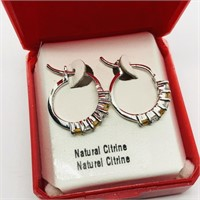 Silver Citrine Cubic Zirconia Hoop Earrings