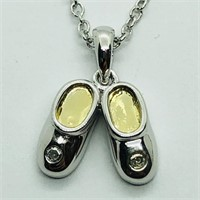 Silver Diamond Ladies Shoes Shaped Necklace (157
