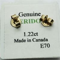 10K Yellow Gold Peridot(1.22ct)  Earrings, Made