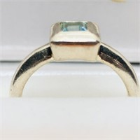 Silver Blue Topaz  Ring (~weight 5.3g) (161 -