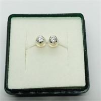 14K Yellow Gold Cubic Zirconia  Earrings (163 -