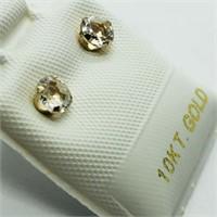 10K Yellow Gold White Topaz(0.45ct)  Earrings,