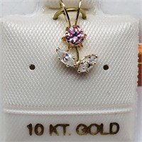 10K Yellow Gold Cubic Zirconia  Pendant, Made in