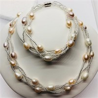 Freshwater Pearl Braclet And Necklace Set (169 -