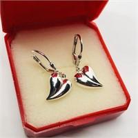 Silver Heart Shaped Earrings (170 - JP415)   (D3)