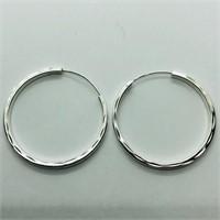 Silver Hoop Earrings (~weight 2.8g) (173 - JP415)