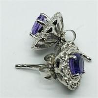 Silver Amethyst 2In1  Earrings (176 - JP415)