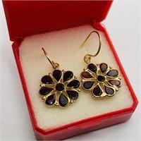 Silver Gold Plated Garnet Flower Shaped Earrings