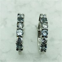 Silver Simulated Aquamarine  Earrings (179 -