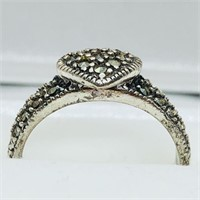 Silver Marcasite Antique Design Heart Shaped Ring