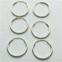 Silver Pack Of 3 Hoop Earrings (191 - JP415)