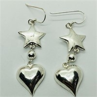 Silver Star And Heart Shaped Earrings (193 -