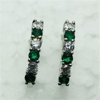 Silver Simulated Emerald  Earrings (196 - JP415)