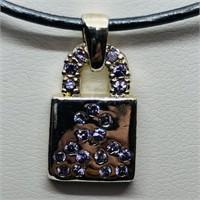 Silver Cubic Zirconia Bag Shaped Pendant (198 -