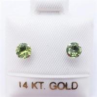 14K Yellow Gold Peridot Stud 4Mm Earrings, Made