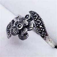 Silver Marcasite  Ring (203 - JT79)   (D2)