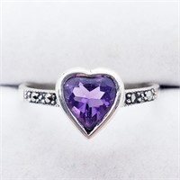 Silver Amethyst And Marcasite  Ring (207 - JT79)