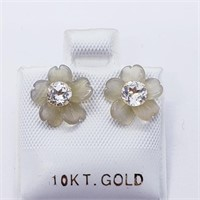 14K Yellow Gold 2 White Topaz(0.45ct) Mother Of