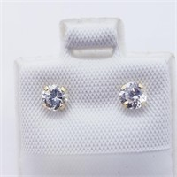 14K Yellow Gold Cz Stud  Earrings, Made in Canada